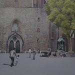 Der neue Luther vorm Eingang der Marienkirche in Mitte