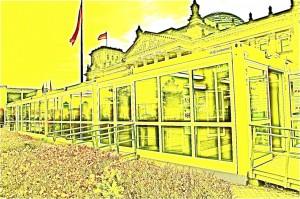 Besucherbuden blockieren Bundestag. Weg damit, mit den Besucherbaracken.