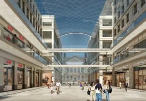 Perfekt nur in der Vision: Zarte Pinselstriche durch den Berliner Himmel gemalt, so wirkt diese Visualisierung der Piazza. (Bild: nps tchoban Architekten)