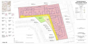Planzeichnung des offziellen B-Plan-Entwurfs 1-64a VE: rot bedeutet, die Flächen werden als Wohngebiet ausgewiesen. Grün: öffentlicher Spielplatz. Zu dem Plan gibt es eine schriftliche Begründung, die auch eingesehen, gelesen werden kann. Viel Spaß!
