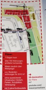 Flyer der Mauerpark-Allianz (Ausschnitt): Schwarze Lkw und Pkw zeigen die Befürchtungen vor erhöhter Verkehrsbelastung, besonders durch den Baustellenbetrieb