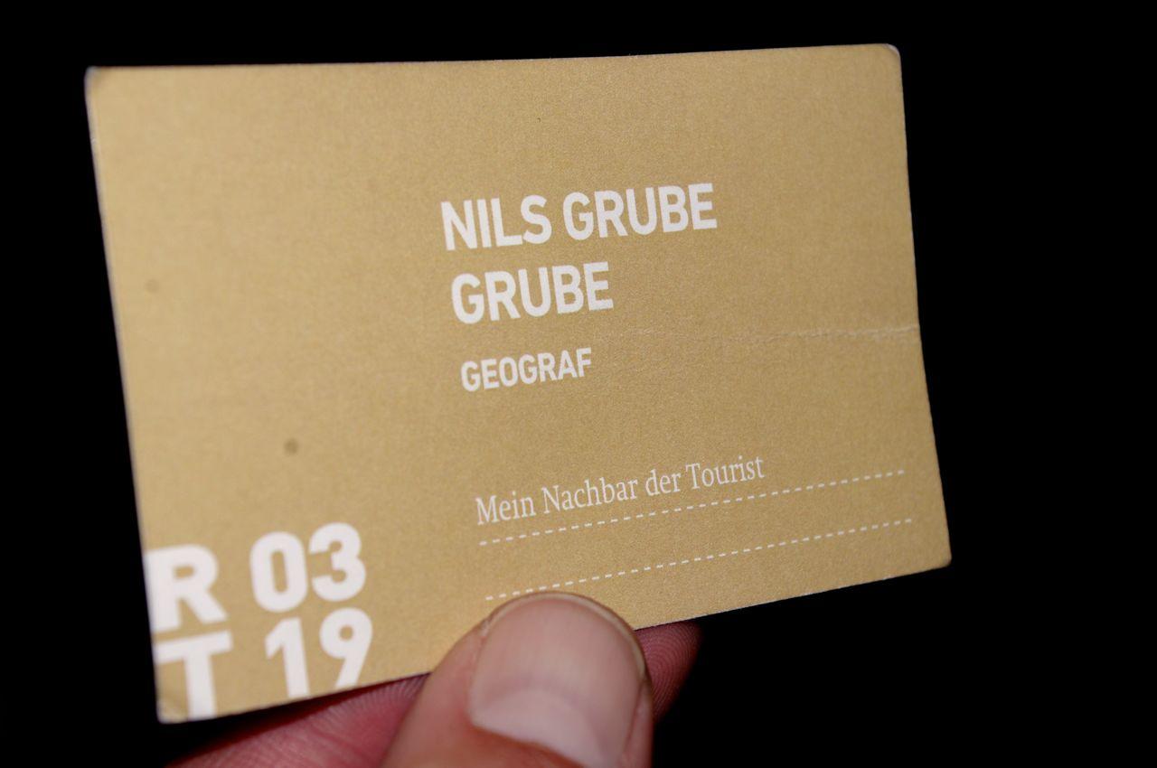 """Karte gezogen: Experte Nils Grube, Tisch 19 in Runde 3, Kosten: 1 Euro (unmittelbares Resultat: Event """"Filmscreening"""" beim Think & Drink-Kolloquium), Danke."""