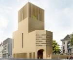 House of One nach dem Entwurf der Architekten KuehnMalvezzi am heutigen Petriplatz in Mitte mit Blick aus der Gertraudenstraße (© KuehnMalvezzi)