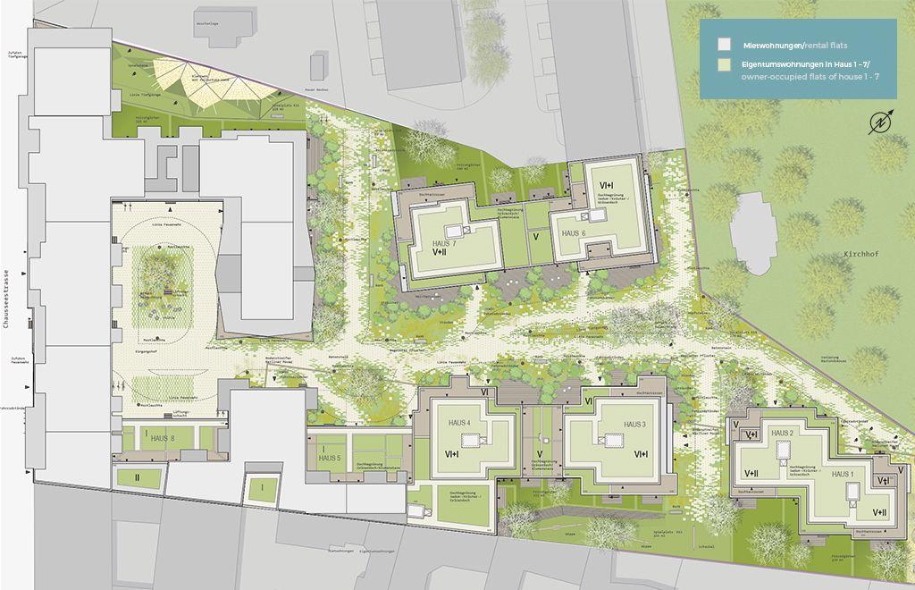 Garden Living: Übersichtskarte zwischen Chausseestraße (links), Tankstelle (oben) und Friedhof (rechts). Grüner Dschungel, ohne Raubtiere (Quelle: Garden Living, Peakside Capital)