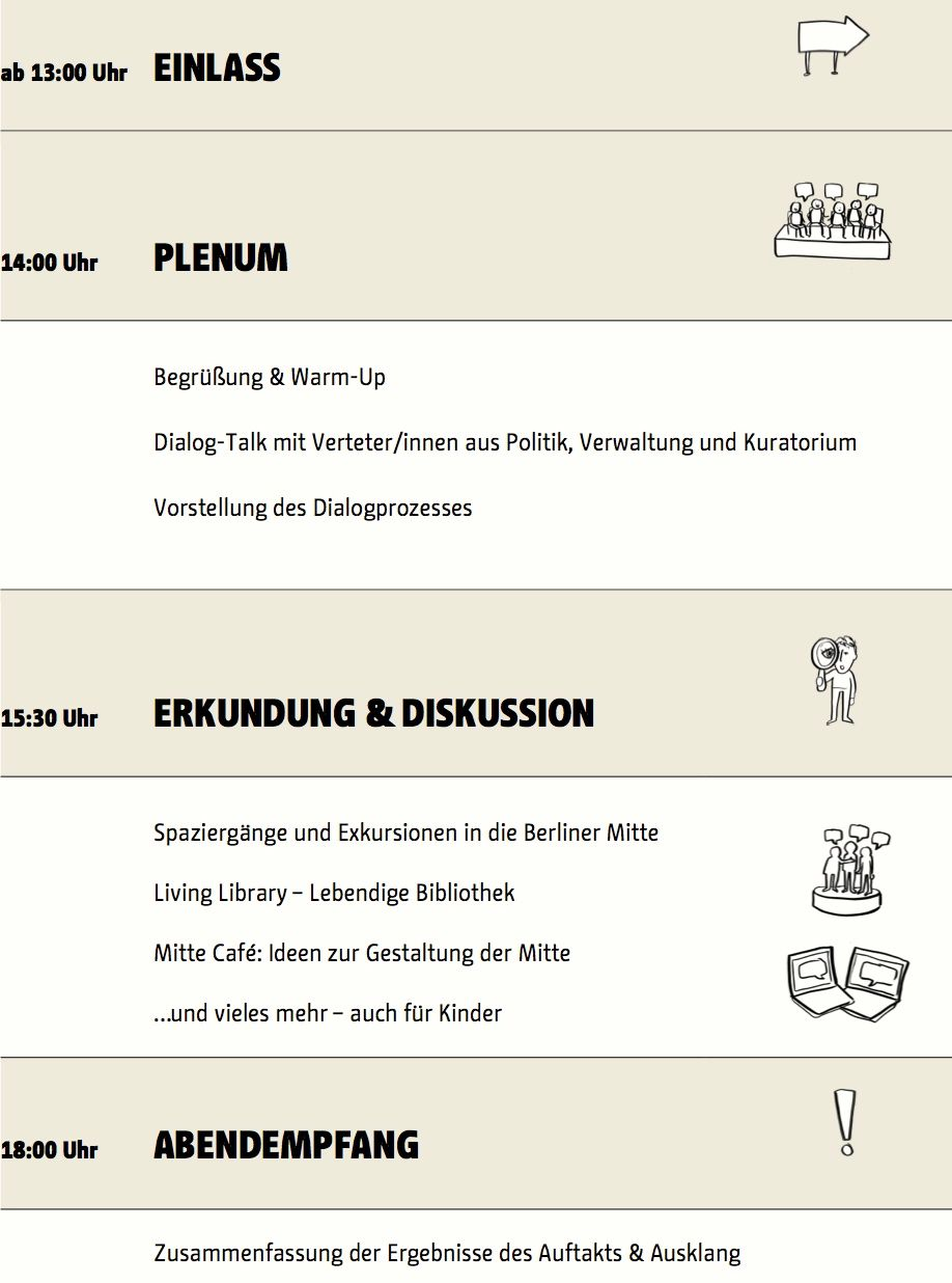 Programm Auftaktveranstaltung Stadtdebatte am 18. April 2015 im bcc (Bildnachweis: Icons/ Zeichnungen © Anna-Lena Schiller)