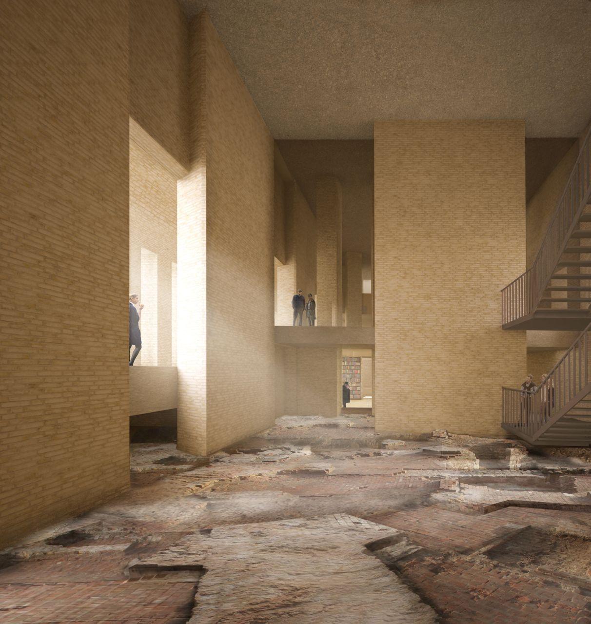 Archäologisches Feld im House of One: auf den Fundamenten der Petrikirche solle es gebaut werden (Visualisierung Kuehn Malvezzi Architekten, Berlin)