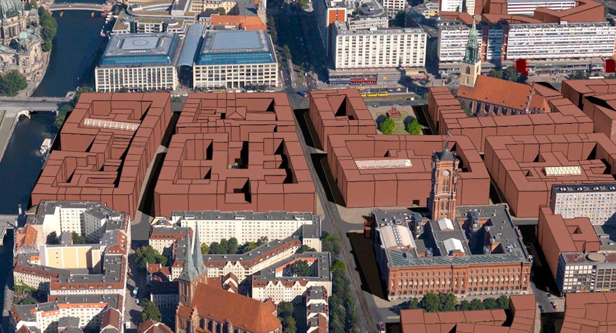 Stadtkern Berlin 2030: Studie des Architekten Bernd Albers von 2014. Ein Entwurf mit Blockrandbebauung auf dem historischem Stadtgrundriss des alten Berliner Marienviertels (Quelle: Bernd Albers)