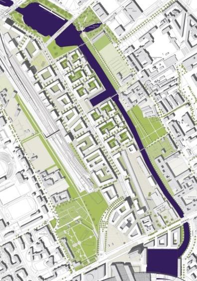Europacity, Städtebauliches Konzept: traditionelle Blockrandbebauung (Quelle: Senatsverwaltung für Stadtentwicklung, ASTOC Köln)