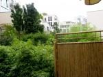 Blick von der Terrasse über das Grün im Innenhof. Im Hintergrund: Wohnhochhaus an der Leipziger Straße (Foto: André Franke)