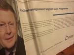 Schlossbaumanager Manfred Rettig wirbt in Tagesspiegel-Anzeige für plankonformes Verhalten aller Baubeteiligten - kurz vor Weihnachten 2015 (Foto: André Franke)