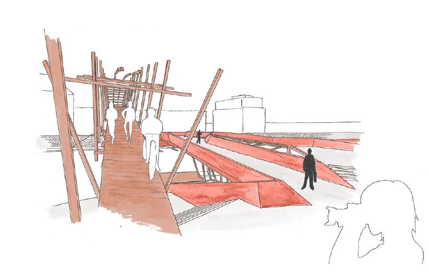 Brückenaufgang vom Märkischen Museum aus gesehen. Auf der anderen Seite wartet die Stadtmauer (Abb. Detlev Kerkow)