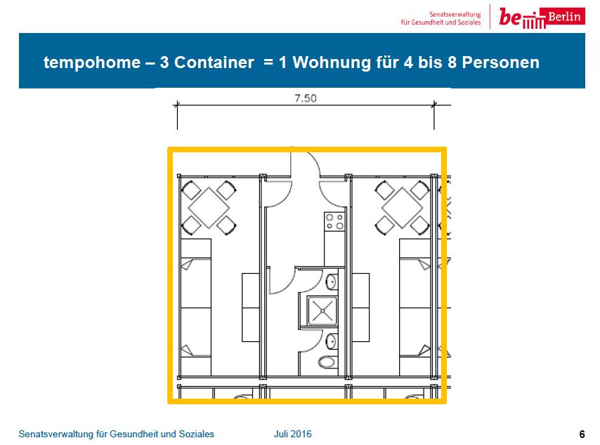 3 Container in einem Tempohome mit Küche und Bad bilden eine Wohnung für 4-8 Personen